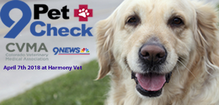 2018 9 pet check logo with a dog in the background for Harmony Vet Arvada